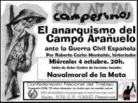 CNT CACERES NORTE ORGANIZA UNA CHARLA SOBRE EL ANARQUISMO EN LA COMARCA DE CAMPO ARAÑUELO EN LA II REPUBLICA