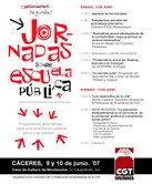 Presentación II Jornadas sobre Escuela Pública. Cáceres 9 y 10 junio.
